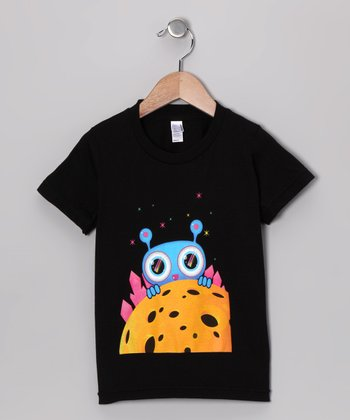 Olly Oogleberry Black Peek-a-Boo Tee - Boys