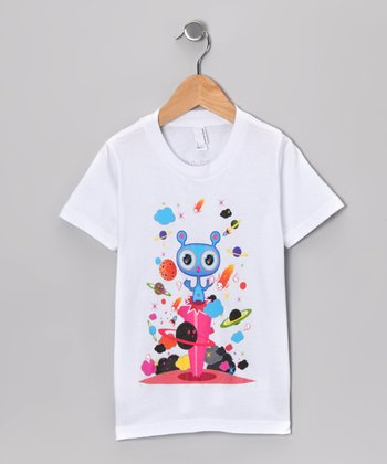 Olly Oogleberry White Planets Aligned Tee - Boys