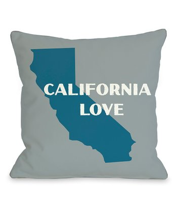 Gray & Blue 'California Love' State Silhouette Throw Pillow