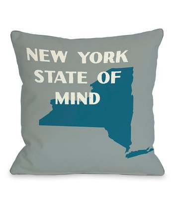 Gray & Blue 'New York State of Mind' Throw Pillow