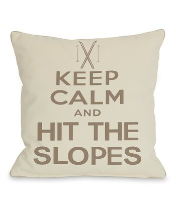 Oatmeal & Tan 'Hit the Slopes' Throw Pillow