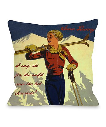 'Snow Bunny' Vintage Ski Throw Pillow