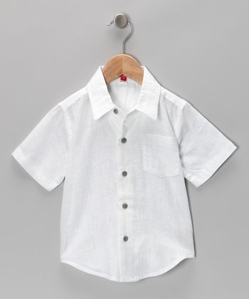 White Button-Up Shirt - Toddler & Boys
