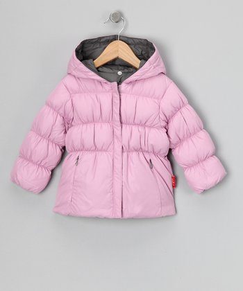 Pink & Pebble Reversible Down Jacket - Toddler & Girls