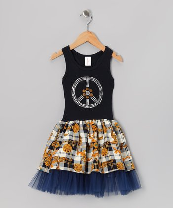 Navy Daisy Plaid Tulle Dress - Toddler