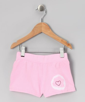 Pink Heart Circle Shorts - Girls