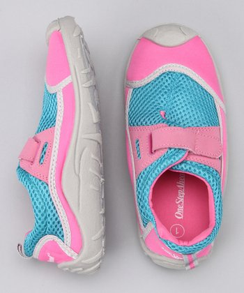 Pink Stay-Put Adjustable Swim Shoe