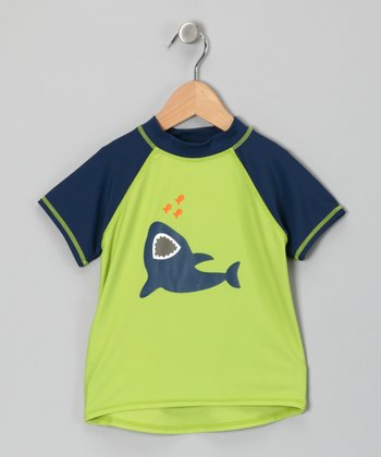 Blue & Green Shark Rashguard - Infant, Toddler & Boys