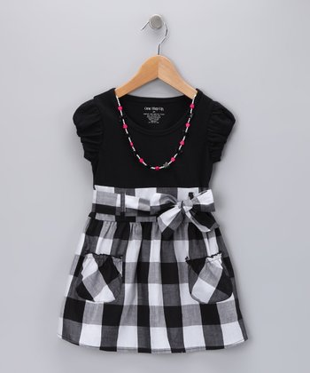 Black Plaid Necklace Dress - Girls