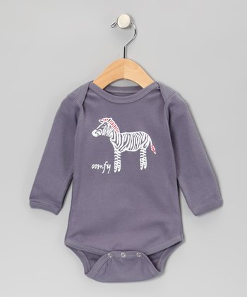 Gray Zeta the Zebra Bodysuit - Infant