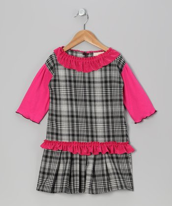 Black & Hot Pink Plaid Ruffle Dress - Toddler & Girls