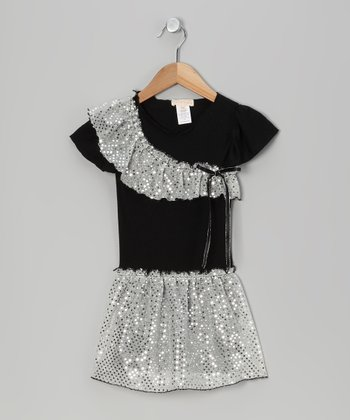 Black & Silver Sequin Dress - Toddler & Girls