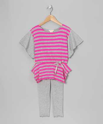 Gray & Fuchsia Cape-Sleeve Tunic & Leggings - Toddler & Girls