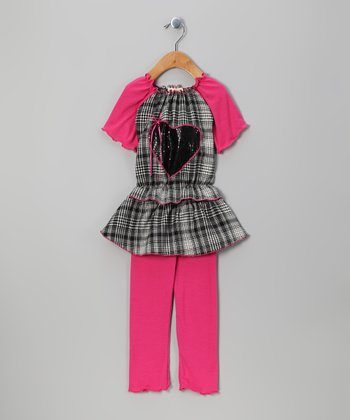 Pink Heart Plaid Tunic & Leggings - Toddler & Girls