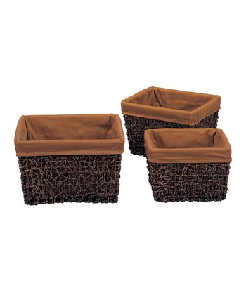 Dark Brown & Espresso Square Basket Set