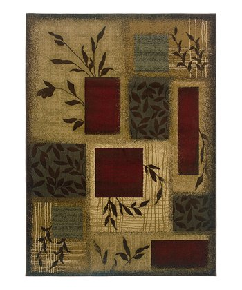 Beige Leaves Elizabeth Rug