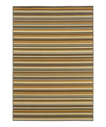 Gray & Beige Stripe Fiji Indoor/Outdoor Rug