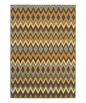Brown & Gray Zigzag Fiji Indoor/Outdoor Rug