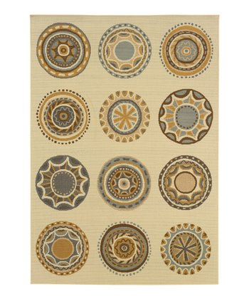 Ivory Medallions Fiji Indoor/Outdoor Rug