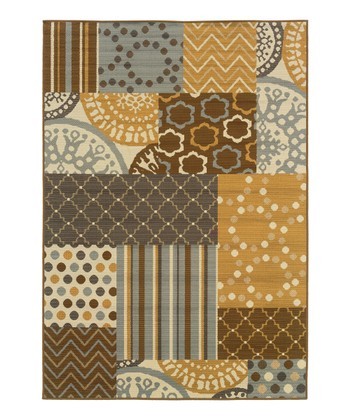Gray & Gold Patchwork Fiji Indoor/Outdoor Rug
