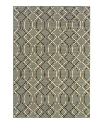 Light Blue & Brown Interlocking Fiji Indoor/Outdoor Rug