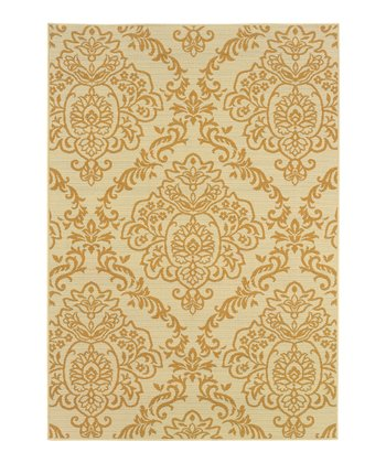 Ivory & Gold Damask Fiji Indoor/Outdoor Rug