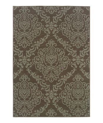 Gray & Brown Damask Fiji Indoor/Outdoor Rug