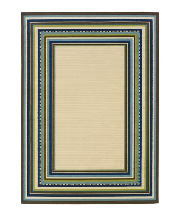 Ivory & Blue Framed Hyrcania Indoor/Outdoor Rug