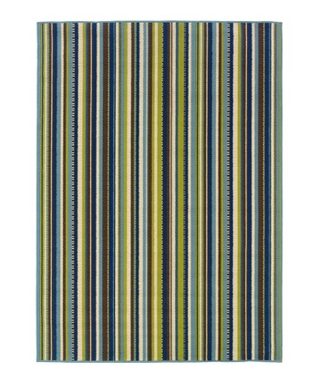 Blue & Green Stripe Hyrcania Indoor/Outdoor Rug