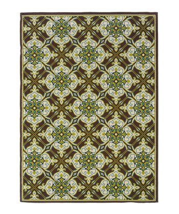 Brown & Green Lattice Hyrcania Indoor/Outdoor Rug