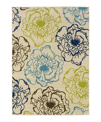 Ivory Modish Blossom Hyrcania Indoor/Outdoor Rug