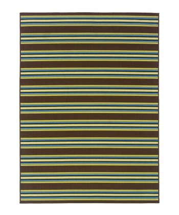 Brown & Green Stripe Hyrcania Indoor/Outdoor Rug