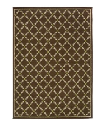 Brown & Gold Lattice Hyrcania Indoor/Outdoor Rug