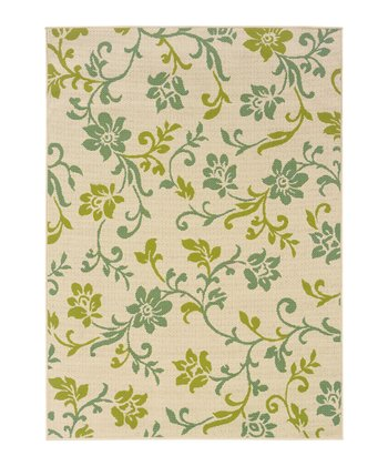 Ivory Blossoming Vine Hyrcania Indoor/Outdoor Rug