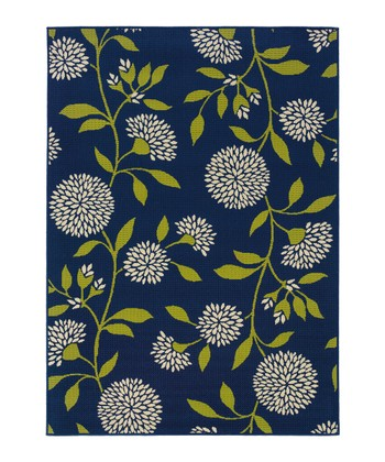 Blue Climbing Flower Hyrcania Indoor/Outdoor Rug