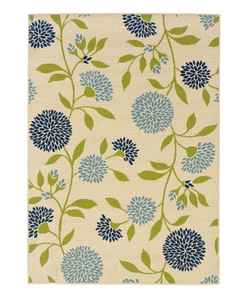 Ivory & Blue Hydrangea Hyrcania Indoor/Outdoor Rug