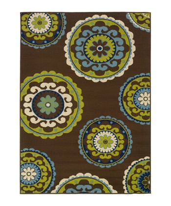 Brown & Blue Medallion Hyrcania Indoor/Outdoor Rug