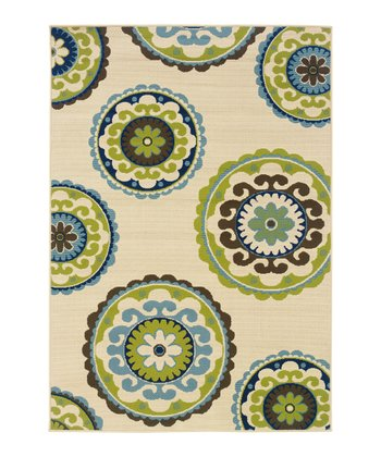 Ivory & Blue Medallion Hyrcania Indoor/Outdoor Rug