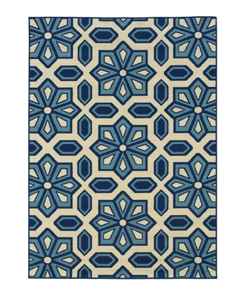 Ivory & Blue Star Hyrcania Indoor/Outdoor Rug