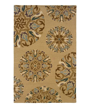Tan Flower Medallion Rebecca Wool Rug