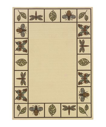 Ivory Bee & Dragonfly Jamaica Indoor/Outdoor Rug