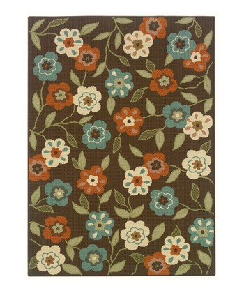 Brown Blooming Field Jamaica Indoor/Outdoor Rug