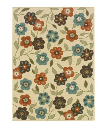 Ivory Blooming Field Jamaica Indoor/Outdoor Rug
