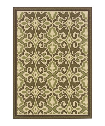 Green Traditional Jamaica Indoor/Outdoor Rug