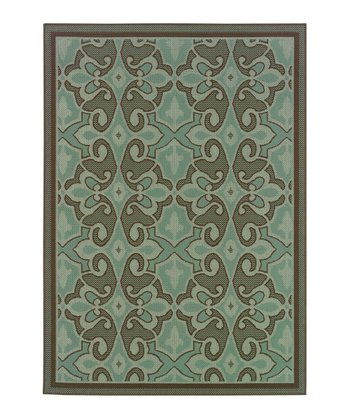Blue Traditional Jamaica Indoor/Outdoor Rug