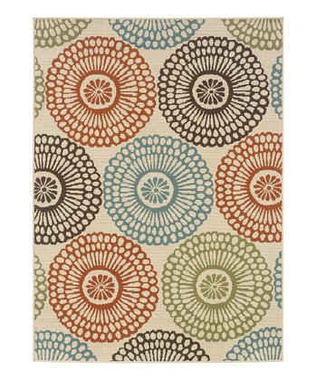 Beige Circles Indoor/Outdoor Rug