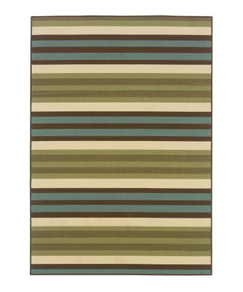 Green Stripe Jamaica Indoor/Outdoor Rug