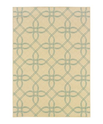Ivory Lattice Jamaica Indoor/Outdoor Rug