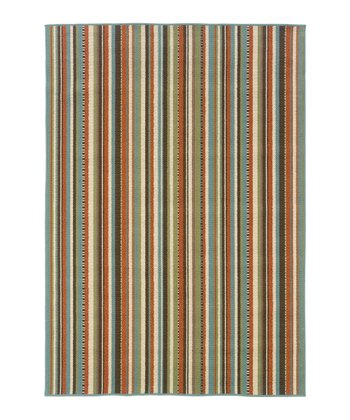 Green Thin Stripe Jamaica Indoor/Outdoor Rug