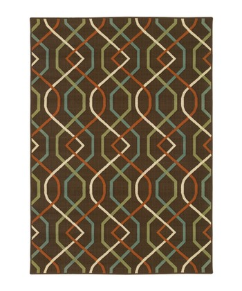 Brown Interlocking Diamond Jamaica Indoor/Outdoor Rug